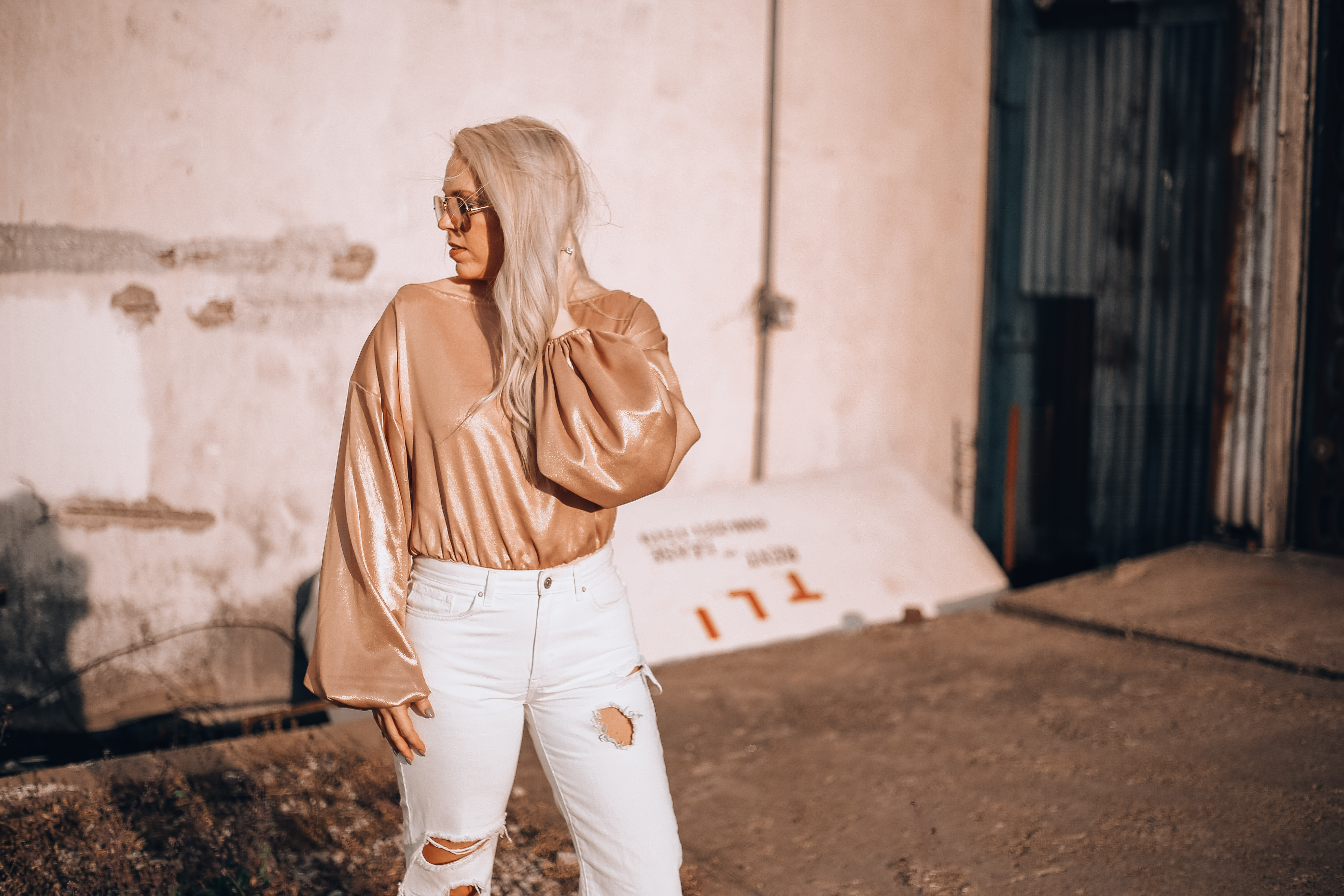 rose gold outfit fashionably blonde