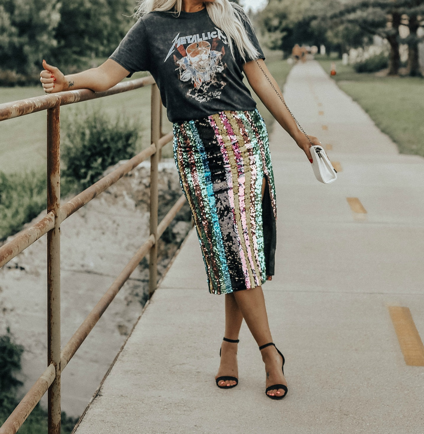 sequin skirt fashionably blonde