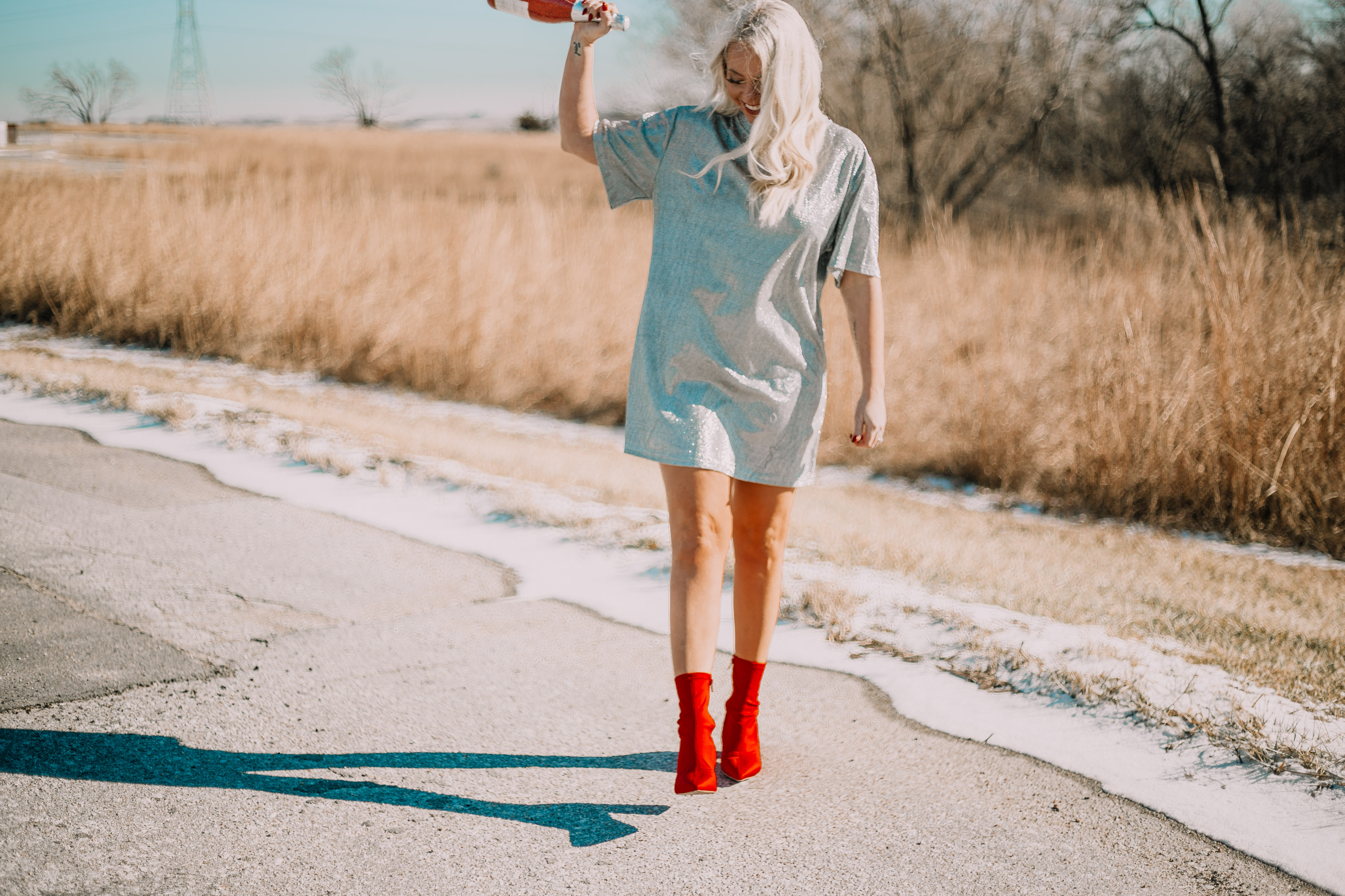 fashionably blonde sequin dress